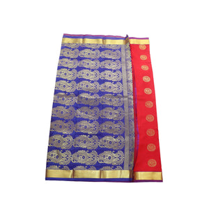 Arars Women's Banarasi Silk Saree Kanchipuram Pattu Style art Silk Saree With Blouse (AD09_red&violet )