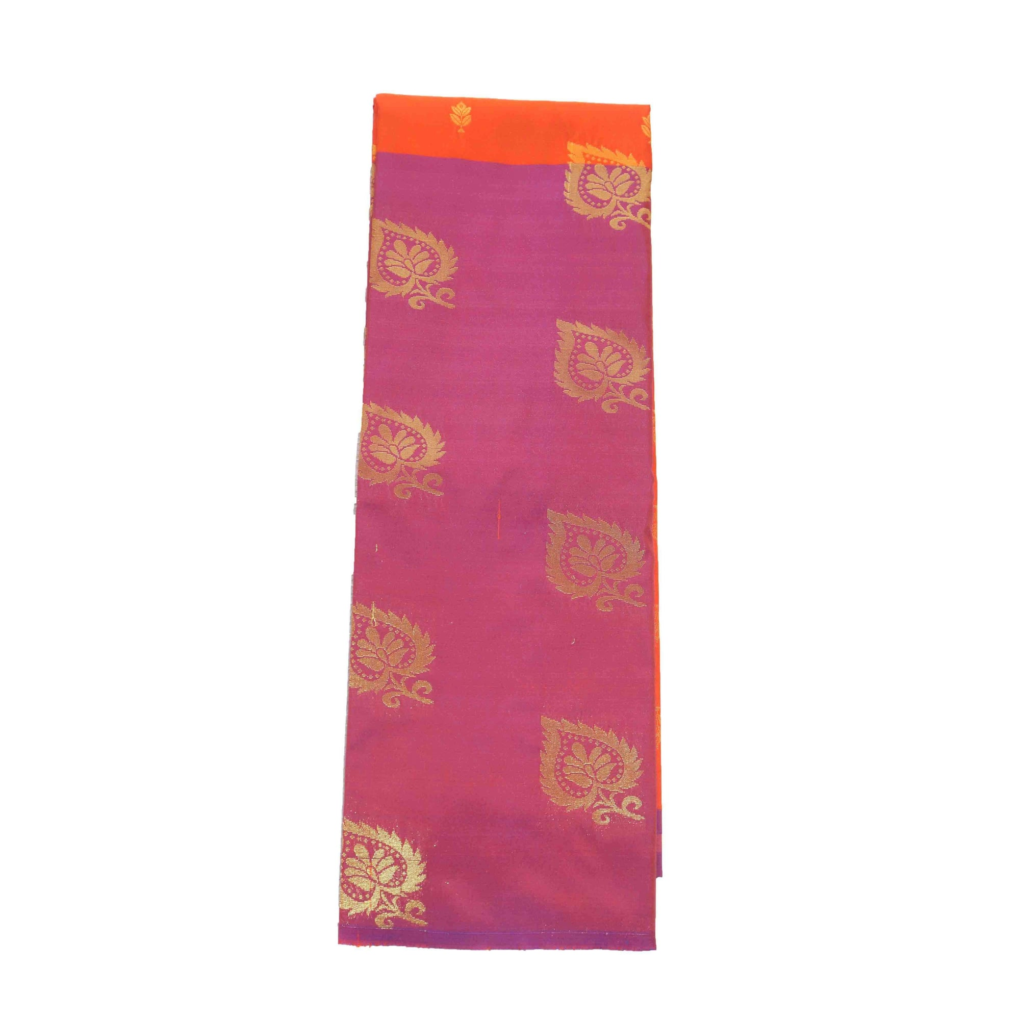 Arars Women's Banarasi Silk Saree Kanchipuram Pattu Style half n half Silk Saree With Blouse (AD11_orange&magenta )