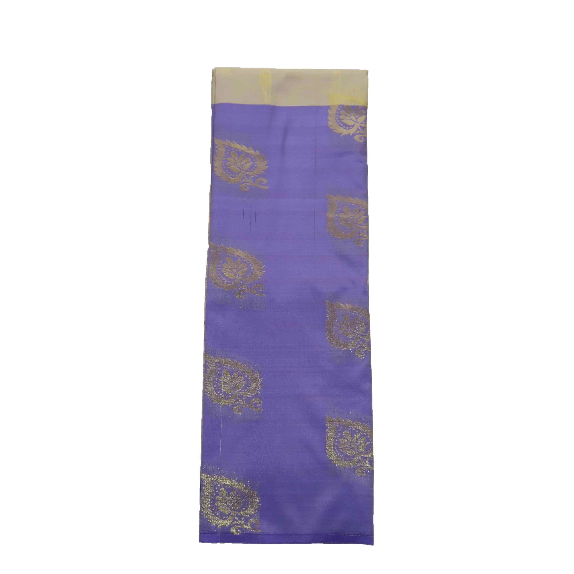 Arars Women's Banarasi Silk Saree Kanchipuram Pattu Style half n half Silk Saree With Blouse (AD11_white&violet )