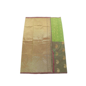 Arars Women's Banarasi Silk Saree Kanchipuram Pattu Style half n half Silk Saree With Blouse (AD12_olive&multgreen )