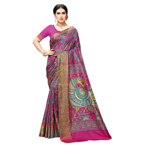 Arars Women's Banarasi Silk Saree Kanchipuram Pattu Style printed Silk Saree With Blouse (505_rani&rani )