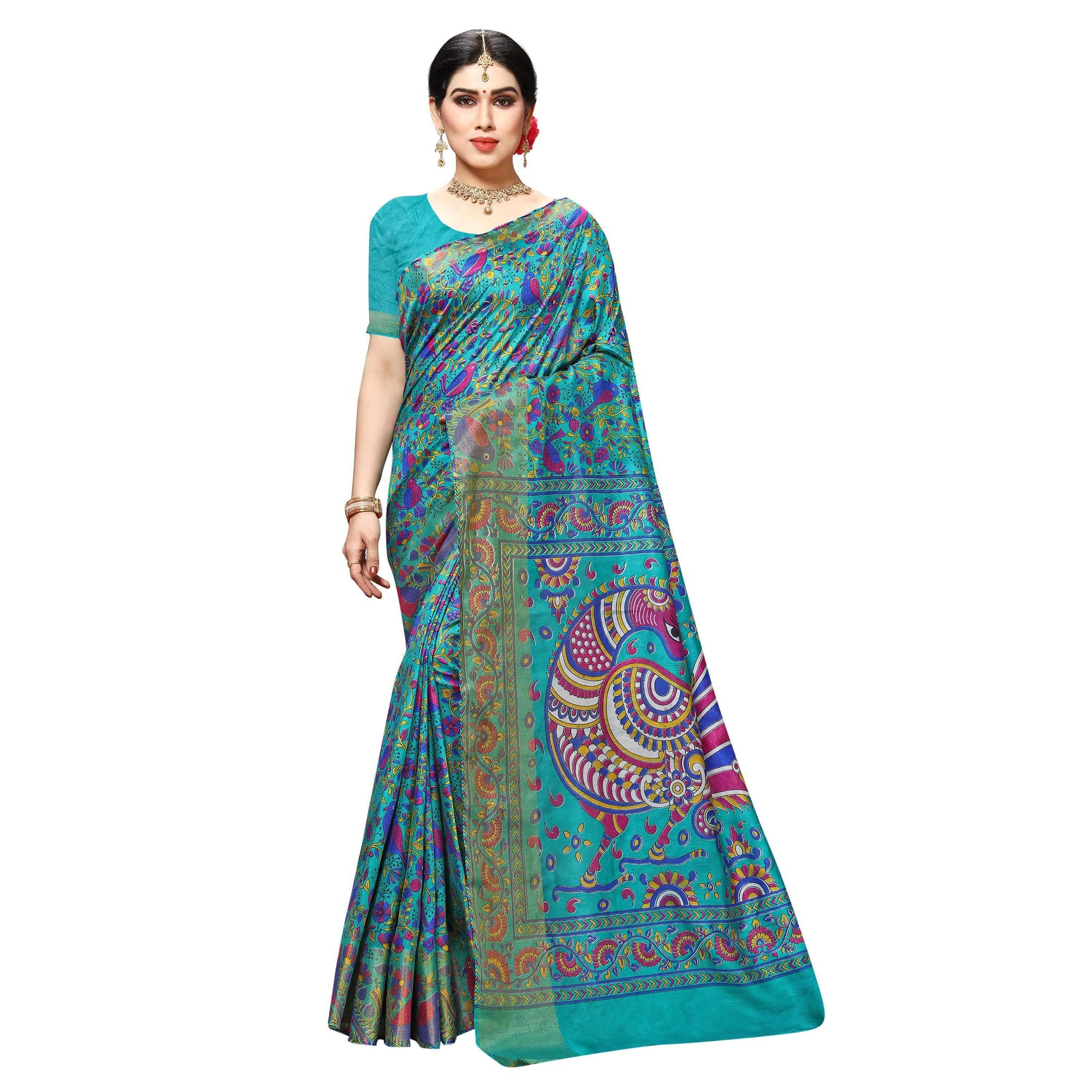 Arars Women's Banarasi Silk Saree Kanchipuram Pattu Style printed Silk Saree With Blouse (505_safair&safair )