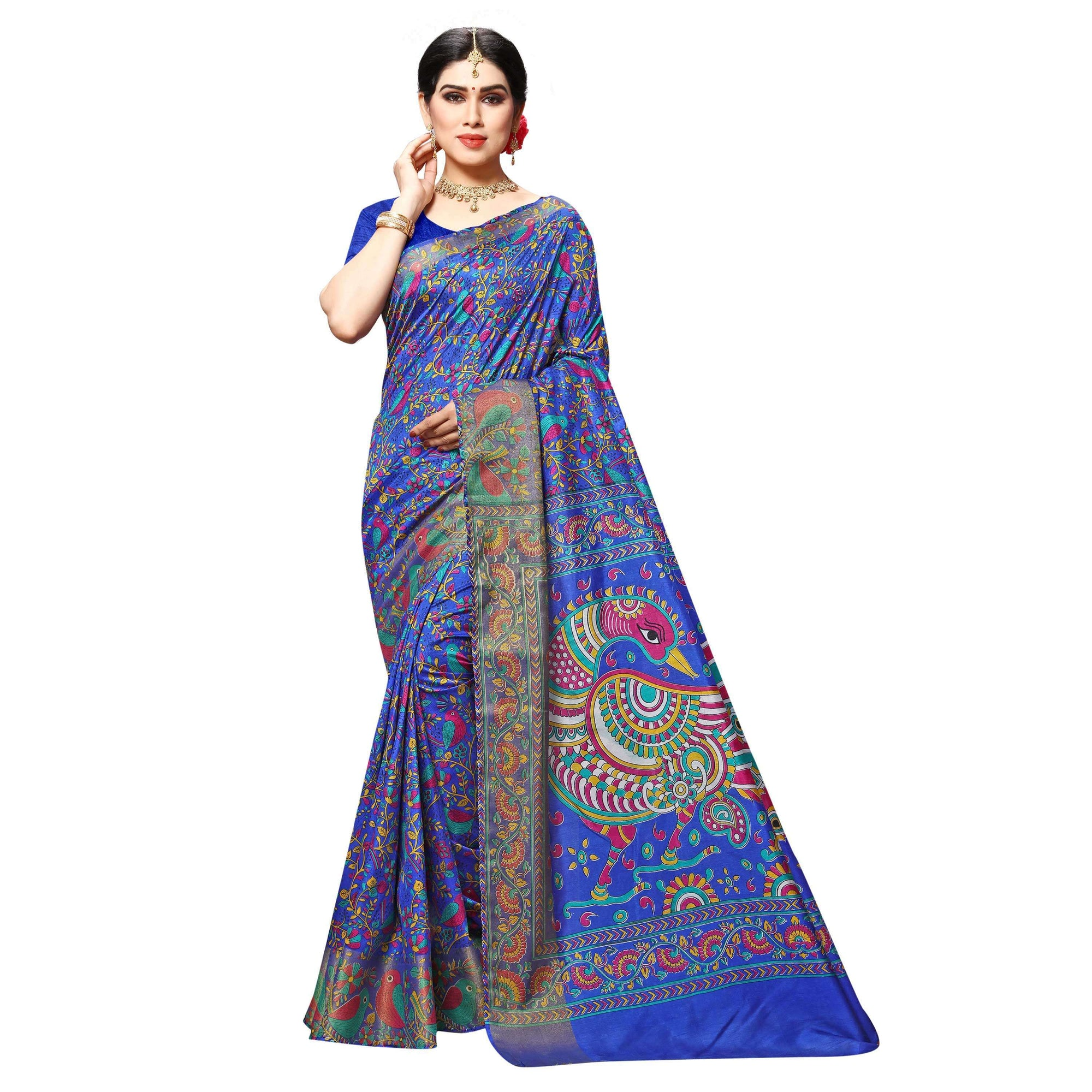 Arars Women's Banarasi Silk Saree Kanchipuram Pattu Style printed Silk Saree With Blouse (505_violet&violet )