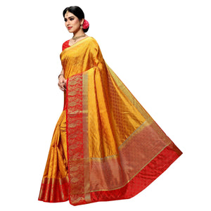 arars Women's kanchipuram kanjivaram pattu style art silk colour saree with blouse (339 MUSTARD)