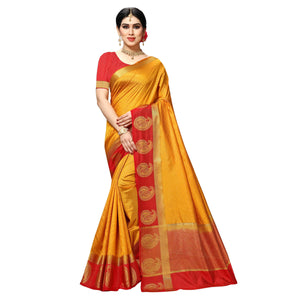arars Women's kanchipuram kanjivaram pattu kanjivaram embosed plain silk saree with blouse (499, cream)
