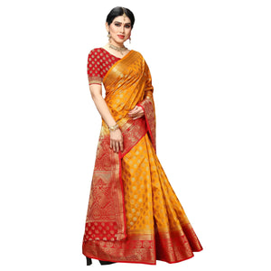 arars Women's kanchipuram kanjivaram pattu style art silk saree with blouse (445,orange)