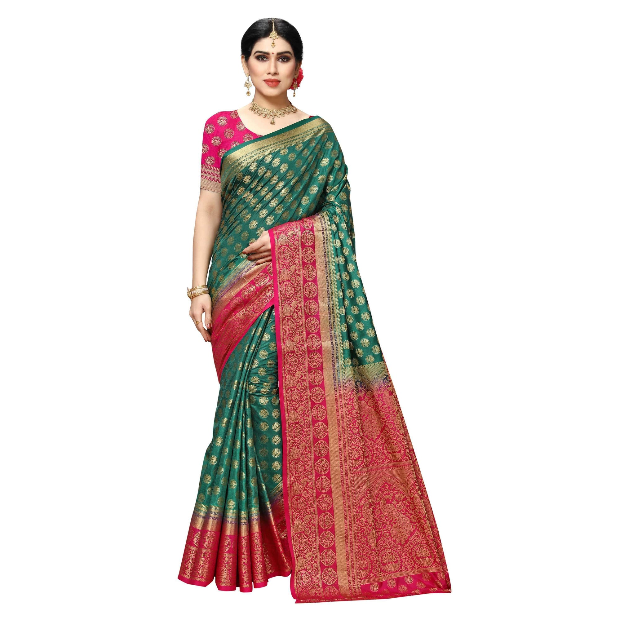 arars Women's kanchipuram kanjivaram pattu style art silk saree with blouse (445,green)