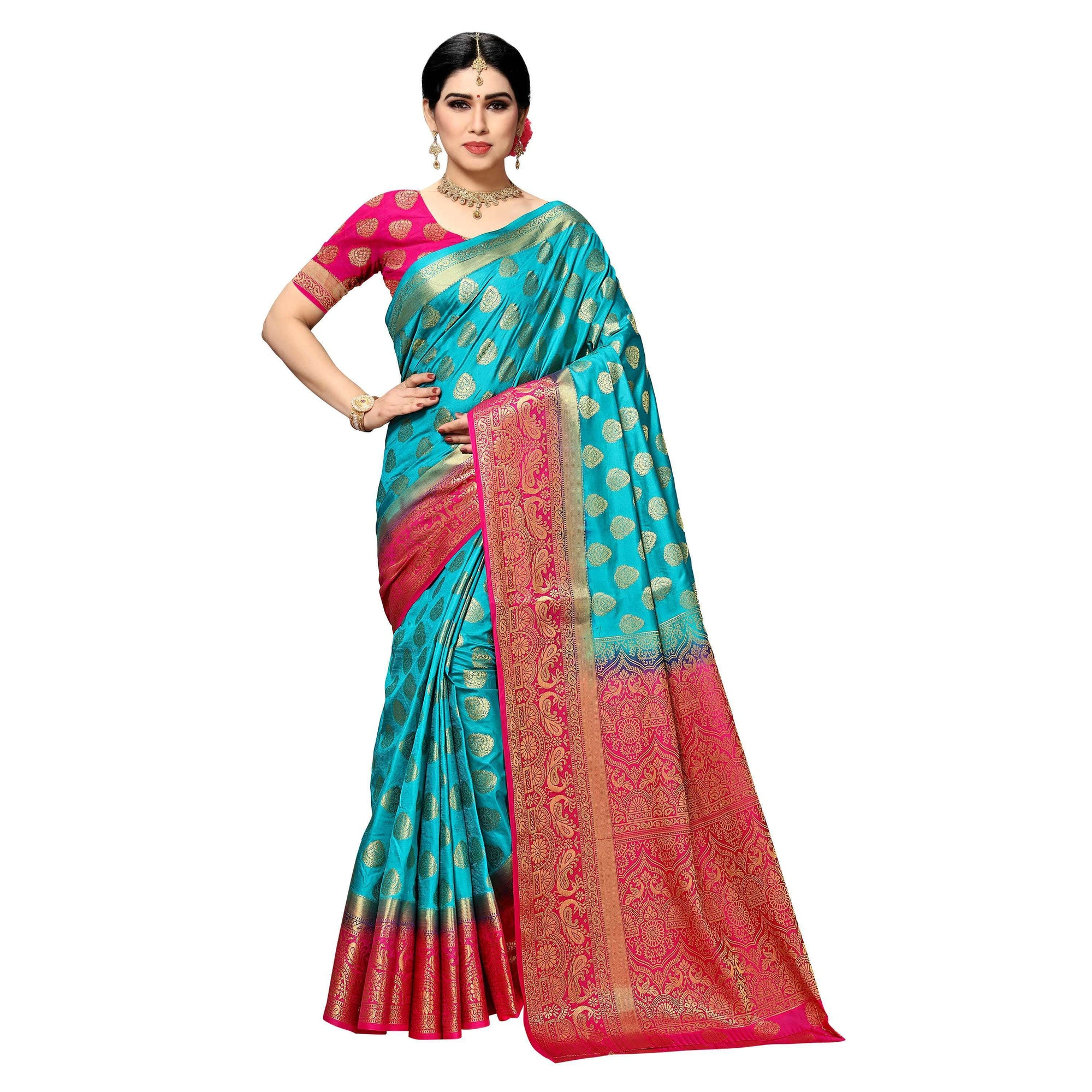 arars Women's kanchipuram kanjivaram pattu style art silk saree with blouse (450,safair)