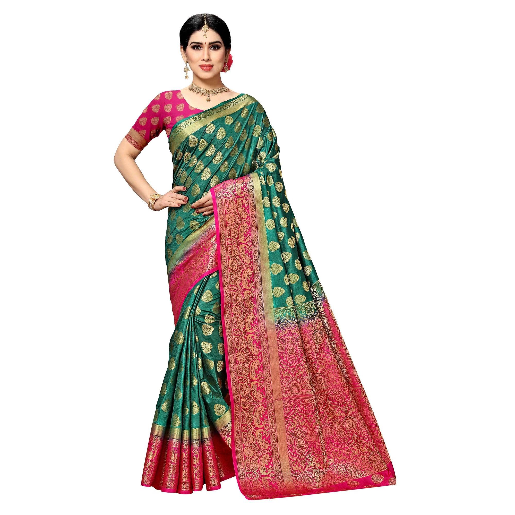 arars Women's kanchipuram kanjivaram pattu style art silk saree with blouse (450,green)