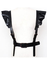 Vamp Ruffle Shoulder Vegan Leather Harness