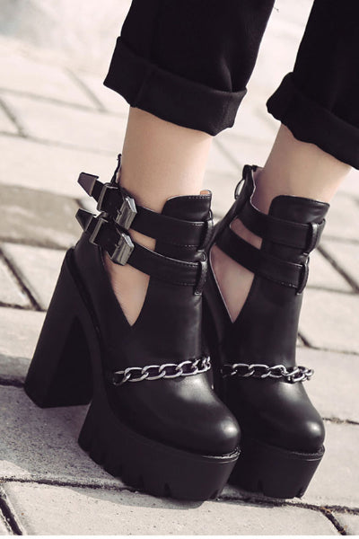 Chain and Buckle Black Metal Lug Sole Booties