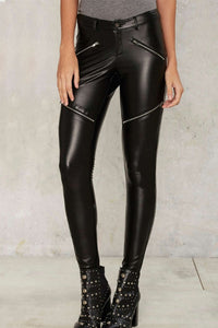 Cat Woman Zipped  Leather Pants