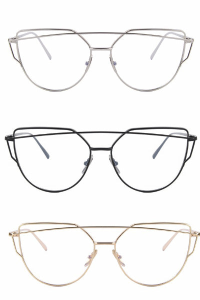 Double Bridge Modern Witch Cat Eye Glasses