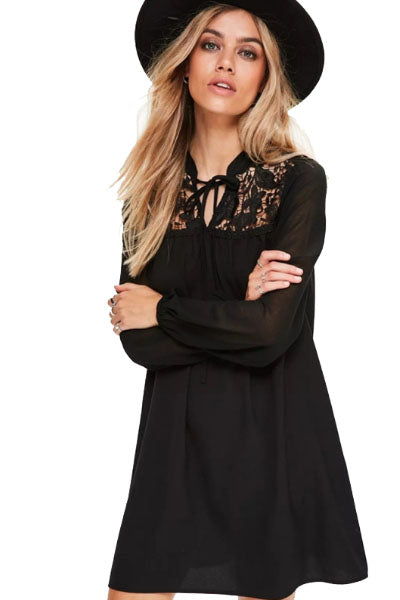 Minerva Earth Mother Witch Lace High Collar Dress