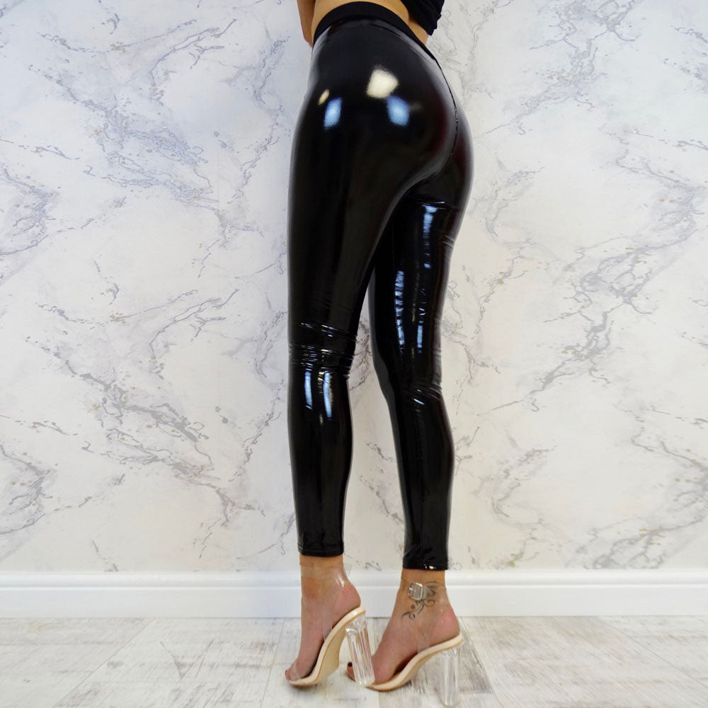 High Waist Latex Leggings