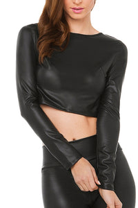 Vegan Leather Long Sleeve Crop Top