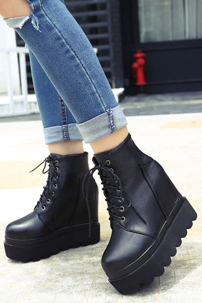 Black Metal Lace Up Platform Wedge Vegan Leather Boots