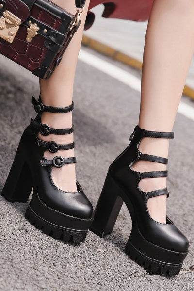 Willow Platform 4 Buckle Pump Boot