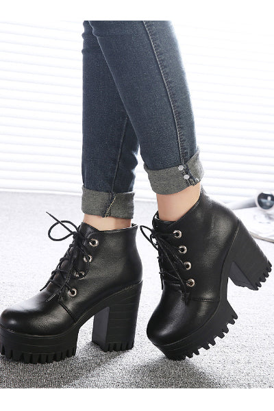 Casual Magic Platform Lace Up Vegan Leather Bootie