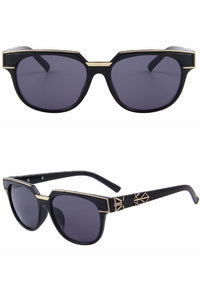 Dark Art Deco Black and Gold Trimmed Sunglasses