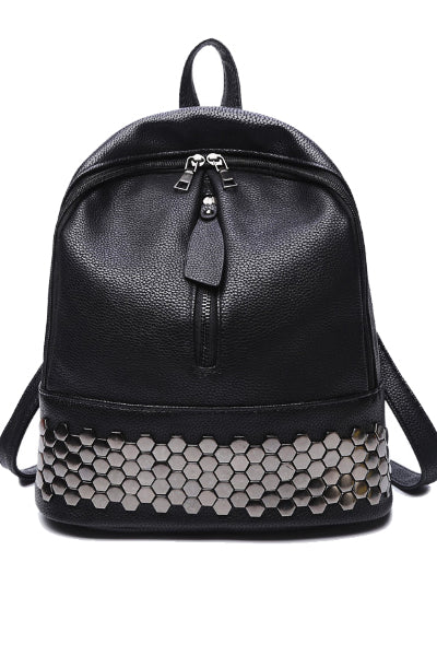 Black B Vegan Leather Backpack
