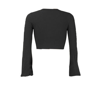 Sliced Bell Sleeved Crop Top