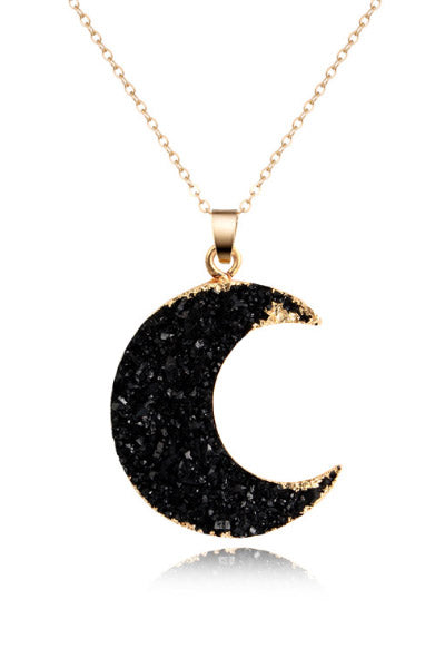 Black Moon Stone Pendant Necklace