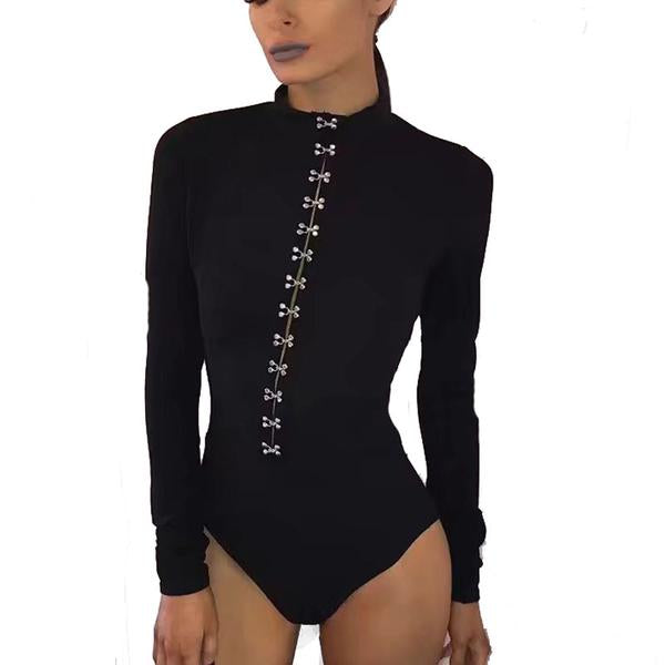 High Priestess Mock Neck Long Sleeve Body Suit