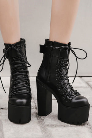 Selene Vegan Leather Lace Up Boot