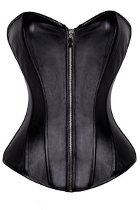 Dark Heart Vegan Leather Zipper Corset