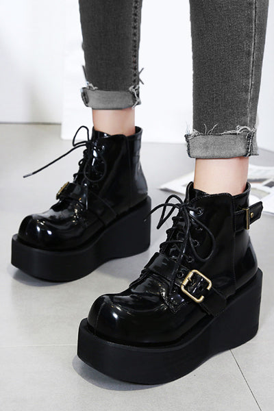 Creep Vegan Patent Leather Platform Boots