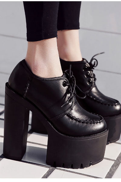 High Creeper Platform Lace Up Pumps