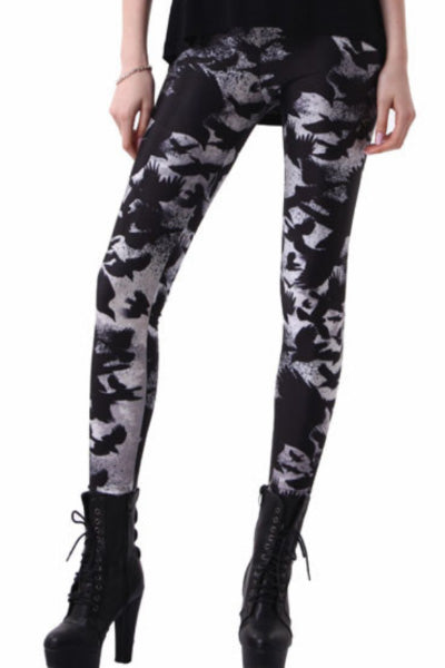 Crows Black and Gray Leggings