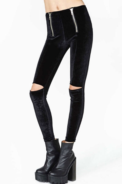 Double Zip Nu Goth Velvet Leggings
