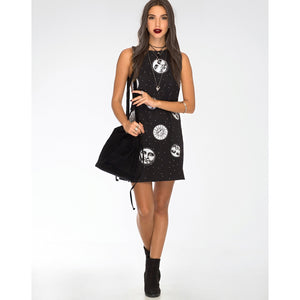 La Luna y El Sol Black and White Lace Back Mini Dress