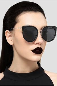 Designer Goth Cat Eye Polarized Sunglasses