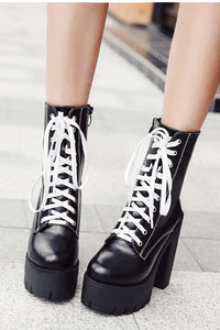 Black and White Platform Combat Boot
