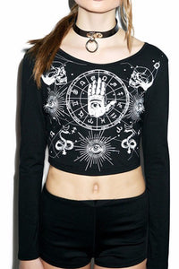 Zodiac Mystic Long Sleeve Printed Crop