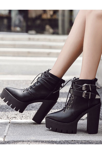 Black Metal Witch Pointed Platform Lug Sole Booties