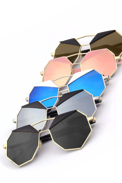 Octa Mirrored Geometric Sunglasses