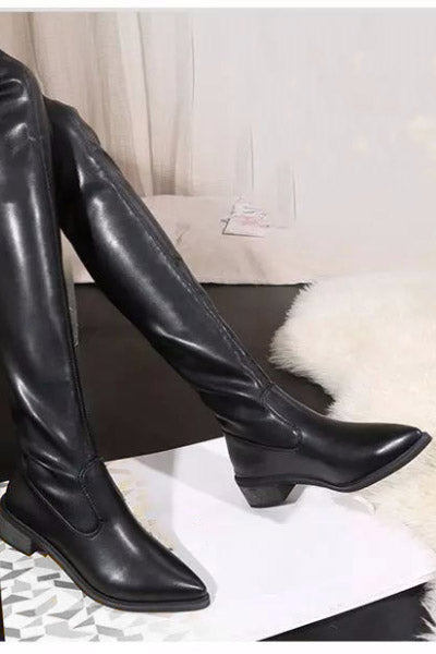 Atomic Pointed Vegan Leather OTK Boots