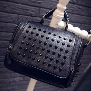 Studs and Leather Black Vegan Purse