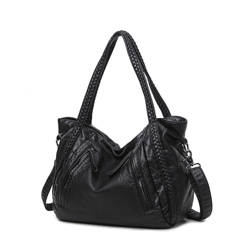 Slouchy Black Leather Cross Over Bag