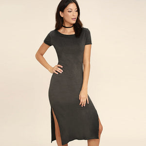 Stone Washed Scoop Neck Open Back Double Slit Midi Dress