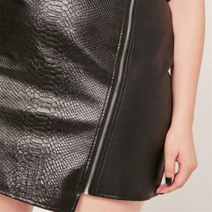 Plus Size Vegan Leather Mini Skirt