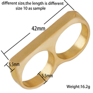 "Two Finger "" Brass Knuckle"" Ring"