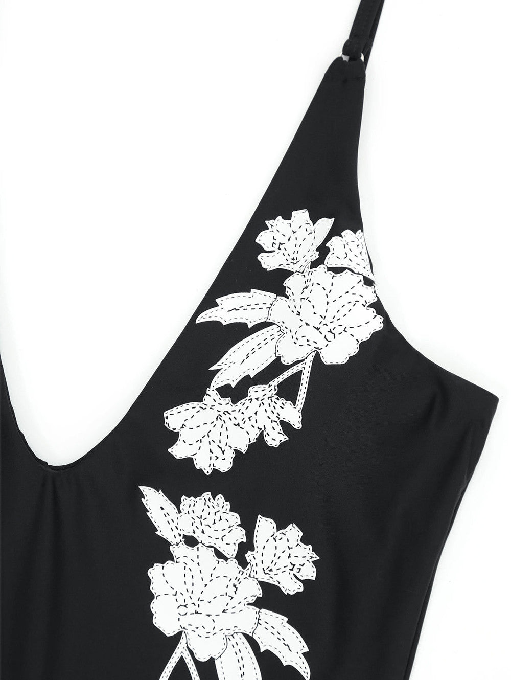 Black And White Flower One Piece Swimsuit
