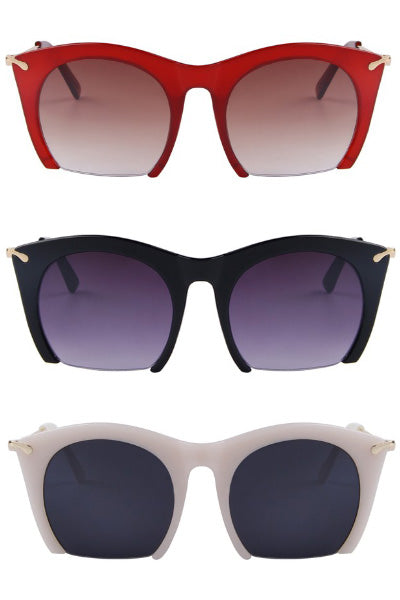 Retro Semi-Simless Sunglasses