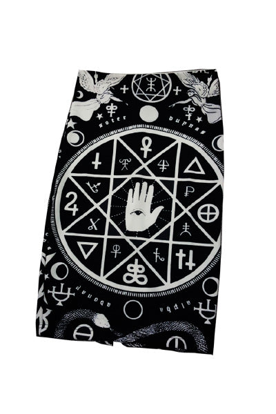Sigil Printed Black and White Skirt