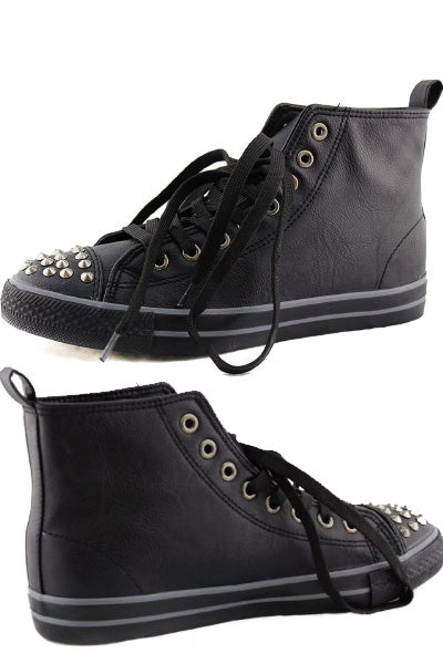Spiked Vegan Leather High Top Sneakers